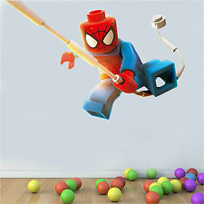 PRINTED WALL ART DECAL LEGO SUPERHERO SWINGING SPIDERMAN CHARACTER DECOR GRAPHIC