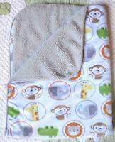 Circo Elephant Giraffe Monkey Lion Alligator Plush Baby Blanket w Circles EUC