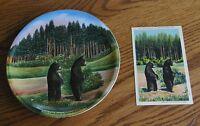 1910-1930''s Souvenir China Yellowstone Park plate  2 Cub Bears  Matching Postc