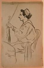 Dessin Original LUBIN DE BEAUVAIS XIXe - Portrait - Art Nouveau LB54