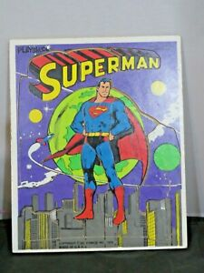 Superman wooden puzzle vtg Playskool preschool frame 1976