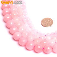 Natural Gemstone Faceted Rose Quartz Stone Loose Beads For Jewelry Making 15""