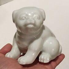 "Vtg Fitz and Floyd 4"" White Porcelain Pug Bulldog Puppy Figurine 1977 Marked"