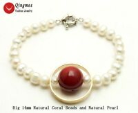 Natural 6-7mm Pearl Bracelets for Women with White Pearl and Red Coral Bracelet