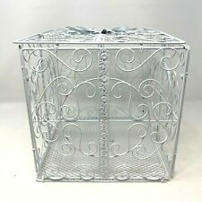 Wedding Gift Card Box 10x10x10 Decorative White Metal Wire Bow Cube Hinged Lid