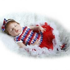 """23"""" Handmade Realistic Reborn Baby Girl Dolls Full Body Silicone Toy Clothes it"""