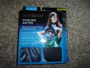 MISSION COOLING NECK GAITER FACE MASK COVER Set of 2 Black & Camo Gray Youth 5+