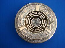 VTG Chinese BRASS Incense BURNER Censer Astrological ZODIAC Footed 2 PIECE