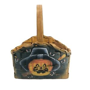 Small Wicker Basket Jack-O'-Lantern With Black Hat And Spooky Eyes
