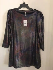NEW FREE PEOPLE Diamonds Are Forever Dress Silver Size S Runs big Relaxed $128
