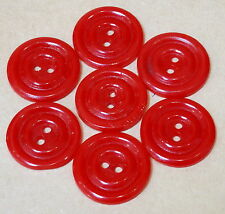 7 VINTAGE 1950s RED BUTTONS