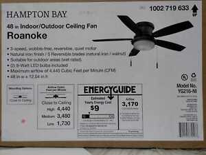 Roanoke 48'' LED Indoor/Outdoor Natural Iron Ceiling Fan /Light Kit Hampton Bay