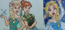 Frozen Elsa Anna 3 ACEO card LOT Disney Princess anime art fanart ATC drawings