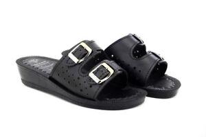 Ladies Jewel Slip On Mule With Adjustable Buckle Black