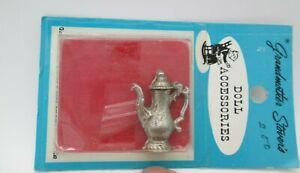 Grandmother Stovers Miniature Dollhouse Silver Metal Tea Pot Pitcher Dining Vtg