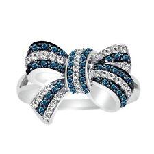 10K White Gold 0.50 CTS Enhanced Blue & White Diamond Bow Ring Size (5-10)