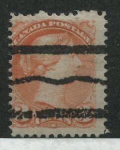 Canada QV 1888 3 cent vermilion Small Queen with Precancel strike cat #R-41