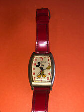 Vintage 1940s Ingersoll MICKEY MOUSE DISNEY WRISTWATCH w/ Red Leather Band