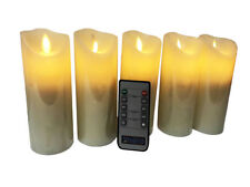 """BRAZING CANDLES 5 pc LED Candle Set, Ivory, 2"""" x 6"""", remote control"""