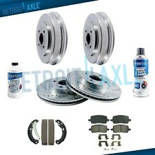 For 2003-2008 Saturn Ion Cobalt Front Drilled Rotors Brake Pad + Rear Drums Shoe (Fits: Saturn Ion)