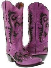 Womens Purple Inlay Western Cowgirl Boots Distressed Leather Snip Toe