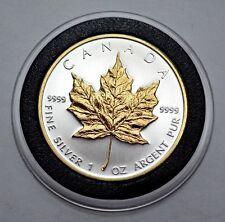 2010 Canadian Maple Leaf 1Troy Oz.9999 Silver Coin $5, 24K Gold Gilded Rim&Leaf
