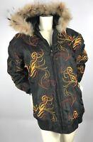 AL Wissam Embroidered Racoon Fur Hooded Black Bomber Jacket Coat Hip-Hop Sz XL