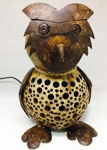 Owl Handmade Coconut Shell Wood Table Lamp Bedside Desk Lamp for Decor Gift