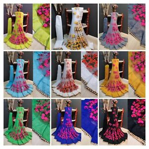 Designer net silk saree floral fancy work wedding party indian bollywood sari