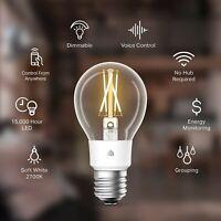 Kasa Smart Wi-Fi LED Bulb TP-Link Filament A19 E26 Light Bulb, Soft White ALEXA