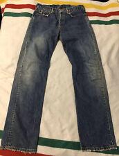 Levis 501 Premium Denim Jeans Big E 32 Leather Patch Distressed