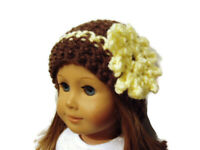 """Crochet Hat Fits American Girl Dolls 18"""" Doll Clothes Brown with Yellow Flower"""