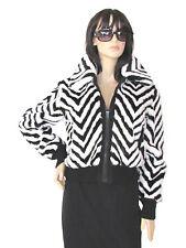 Women's Coats Jackets Fax Fur Designer Black White Chevron Print Coat M Large