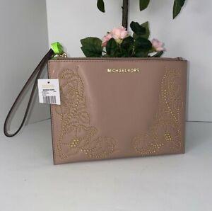 Michael Kors Wristlet Nouveau Floral Gold Studded Fawn Leather Clutch B17