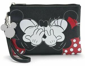 Disney's Mickey & Minnie Mouse Kiss Black Wristlet Purse Makeup Pouch Bag NWT