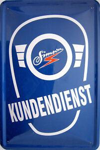 Blechschild 20x30 cm - Simson Kundendienst DDR Osten Werkstatt Garage Moped