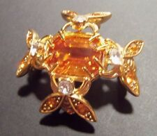 Joan Rivers Classics Collection Large Topaz and 4 Bees Brooch/Pin Retired