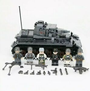 Lego ww2 army war tank Minifig Panzer III Vehicule bricks Figurine char WWII