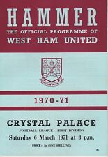 WEST HAM UNITED v CRYSTAL PALACE ~ 6 MARCH 1971 ~ INCLUDES HAMMERS INSERT