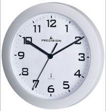 Precision White Wall Clock Radio Controlled Analogue Prec0062 23cm Diameter