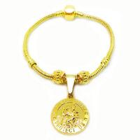 24k Yellow Gold Womens Snake Chain Bracelet Bangle - Saint Christopher + GiftPkg