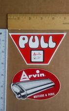 2 1970s drag racing decal sticker lot Arvin mufflers & pipe Hot Rod dealer PULL