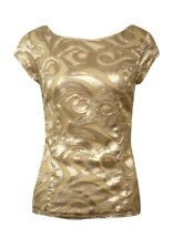 Onyx Nite Women's Sequined Illusion Blouse (S, Champagne)