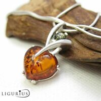 NATURAL BALTIC AMBER STERLING SILVER 925 Heart PENDANT CHAIN NECKLACE Certified