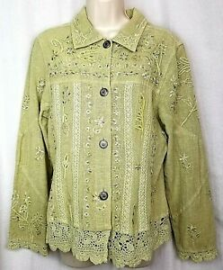 Flashback jacket womens boho style sz M green beaded lace floral embroidered