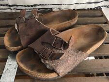 Birkenstock Brown Leather/Wool Slip On Slide Size 35 EU 4.5/5 US L4 225