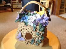 """New serenity Garden 2003 Birdhouse. Looks like a basket with flowers. 1.25"""" ho"""
