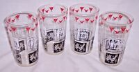 4 RARE American Gothic Glass Pitcher Amish BUTTERPRINT Style BLACK White RED