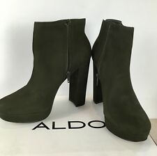 Aldo Army Green Ankle Leather Boots High Block Heel 7 UK Platform RRP £120.00