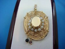 "!ADORABLE 14K GOLD ""STRAW HAT"" PENDANT WITH PEARLS, ONYX AND GARNET BEADS,5.1 GR"